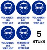 Set van 5 stuks; Veiligheidsbril verplicht; Sticker. 140 x 200 mm_