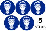 Set van 5 stuks; Adembescherming verplicht; Sticker. Rond 300 mm_