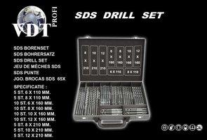 SDS Borenset, 65 delig, in metalen koffer