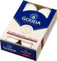 Gouda Maxilichten 10 branduren uur per waxinelichtje - 12 waxinelichten wit in doos