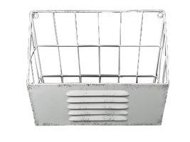 Tijdschriftenrek voor aan de wand - Metaal - Wit - Industrieel - 30 cm