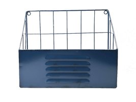 Tijdschriftenrek voor aan de wand - Metaal -Blauw - Industrieel - 30 cm