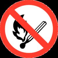 Roken en open vuur verboden Bordje. Rond 90 mm