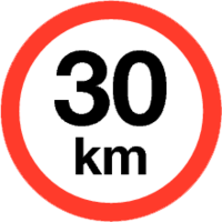 Maximum snelheid 30 km/h Sticker. Rond 200 mm