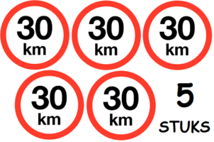Set van 5 stuks; Maximum snelheid 30 km/h Sticker. Rond 200 mm