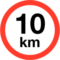 Maximum snelheid 10 km/h Sticker. Rond 200 mm