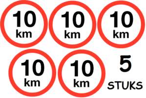 Set van 5 stuks; Maximum snelheid 10 km/h Sticker. Rond 200 mm