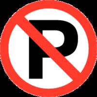 Verboden te Parkeren; Sticker. Rond 200 mm