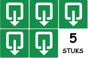 Set van 5 stuks; Uitgang / Nooduitgang; Sticker. 150 x 150 mm