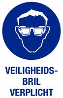 Veiligheidsbril verplicht; Sticker. 140 x 200 mm