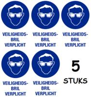 Set van 5 stuks; Veiligheidsbril verplicht; Sticker. 140 x 200 mm