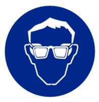 Veiligheidsbril verplicht; Sticker. Rond 200 mm