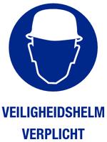 Veiligheidshelm verplicht; Sticker. 140 x 200 mm