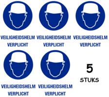 Set van 5 stuks; Veiligheidshelm verplicht; Sticker. 140 x 200 mm