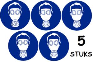Set van 5 stuks; Adembescherming verplicht; Sticker. Rond 300 mm