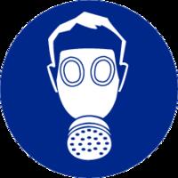 Adembescherming verplicht; Sticker. Rond 200 mm