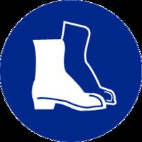 Schoenen / Laarzen verplicht; Sticker. Rond 200 mm