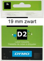 DYMO 19mm D2 label tape zwart op wit