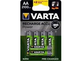 Oplaadbare batterijen AA 4st + 2x AAA gratis