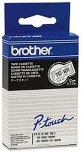 Brother Labeltape 12mm zwart op transparant