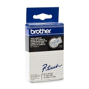 Brother Labeltape 12mm blauw op transparant