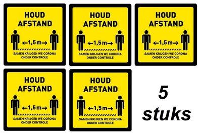 Houd Afstand Waarschuwings Sticker 1.5 meter afstand Vierkant 200 x 200 mm 5 stuks