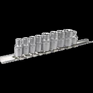 TOPEX Doppenset op metalen rail 9 delig, 1/4 + 3/8 aansluiting